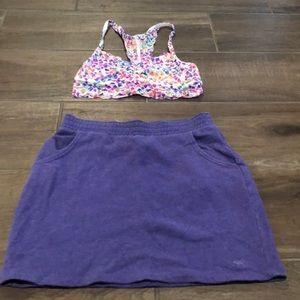 PINK bralette with purple mini skirt